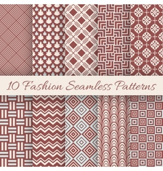 Fashion marsala color seamless pattern set vector image