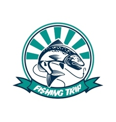 Fishing trip fisherman sport club badge vector
