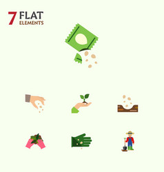 Flat icon sow set of glove sow seed and other vector