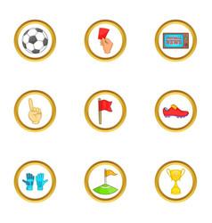 Football news icons set cartoon style vector