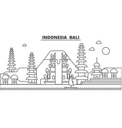 Indonesia bali architecture line skyline vector