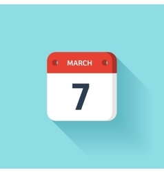 March 7 isometric calendar icon with shadow vector
