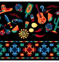 Mexican seamless pattern with icons in native vector image vector image