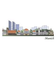 Munich skyline colored vector image