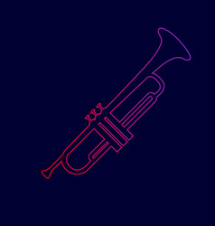 musical instrument trumpet sign line icon vector image vector image