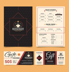 Restaurant menu gift card set design vector
