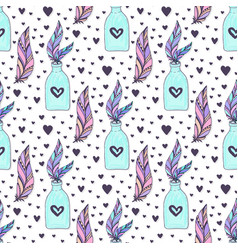 seamless crystal gems pattern with feathers and vector image vector image