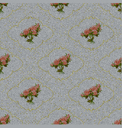 Seamless texture light denim with printed flowers vector