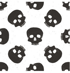 skull seamless pattern hand drawn sketch vector image vector image