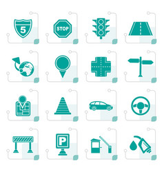 Stylized traffic road and travel icons vector