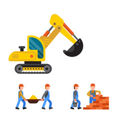 Under construction excavator technic vector