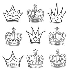 Various sketch crown hand draw doodles vector