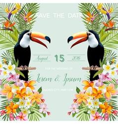 Wedding card tropical flowers toucan bird vector