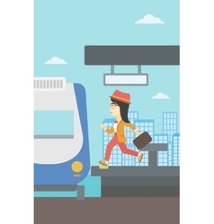 Woman running along the platform vector