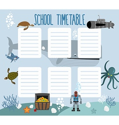 School schedule with underwater world timetable vector