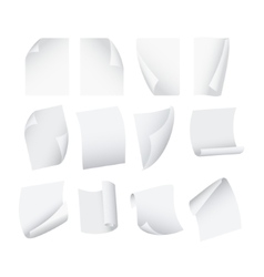 Flying template blank white paper set vector