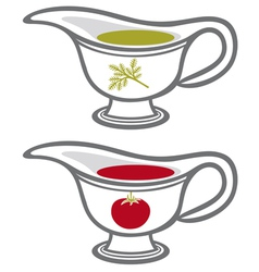 Sauce gravy or sauce boat with cream vector