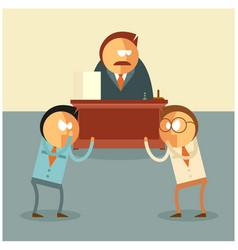 Fighting of businessmen for their boss vector