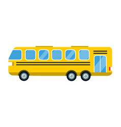 City yellow bus isolated road vector