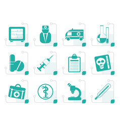 Stylized medical and healthcare icons vector