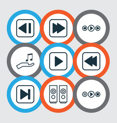 set of 9 multimedia icons includes last song vector image