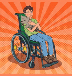Disable handicapped boy in wheelchair pop art vector