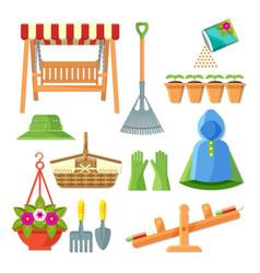 Set of garden equipment and decorative accessories vector