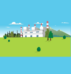 Coal power plant factory on good environment hill vector