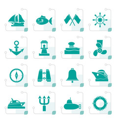 Stylized marine sea and nautical icons vector