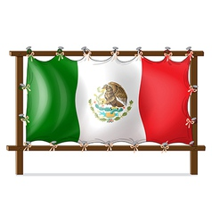 A wooden frame with the flag of mexico vector