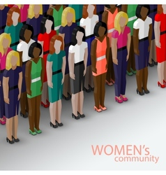 3d isometric of women community with a large group vector