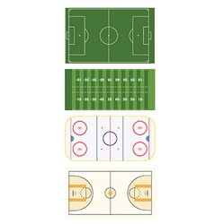 Four sports fields vector