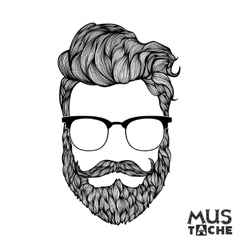 Mustache beard and hair style vector