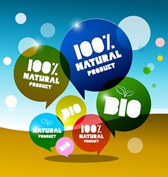 Bio - 100 natural bubbles on abstract landscape vector