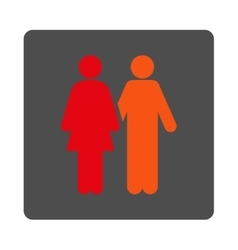 Human couple rounded square button vector