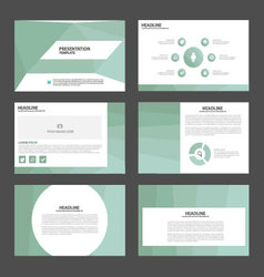 Light green presentation templates infographic set vector