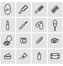 Line cosmetics icon set vector