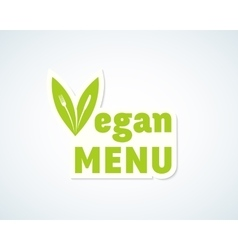 Vegan menu sticker sign or emblem fork vector