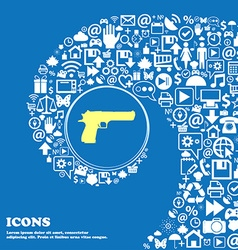 Gun sign symbol nice set of beautiful icons vector