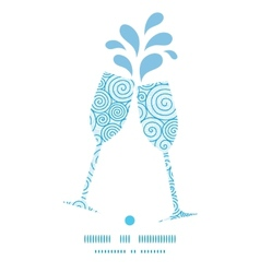 Abstract swirls toasting wine glasses silhouettes vector