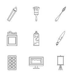 Art instruments icons set outline style vector