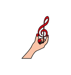 Background with colorful hand holding a treble vector