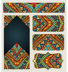 Banners set with ethnic pattern vector