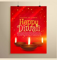 Beautiful red flyer for diwali celebration diwali vector