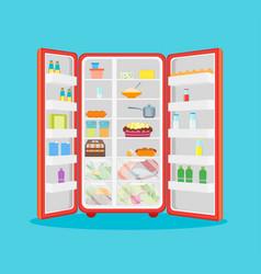 cartoon opened refrigerator full of food vector image
