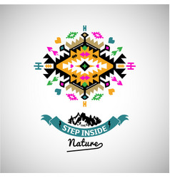 Colorful abstract geometric simbol in tribal style vector
