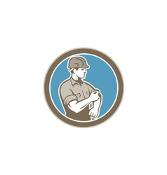 Construction worker rolling up sleeve circle retro vector
