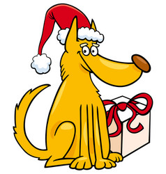 Dog with christmas gift cartoon vector