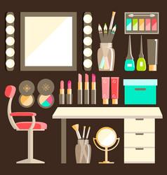 Flat makeup workers workplace set mirror vector