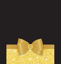 Gold sparkling rhinestone bow blank vector